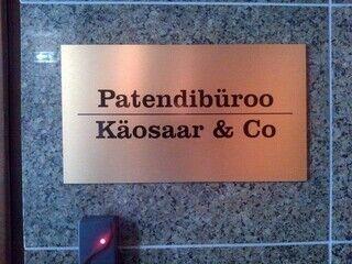 Julkisivukyltti Patendibüroo Käosaar & Co